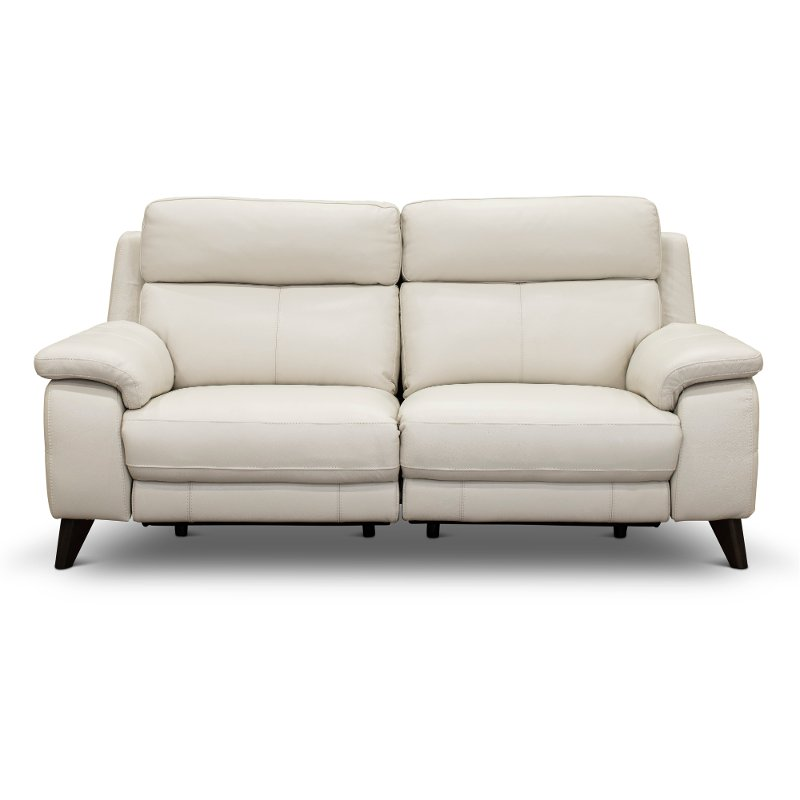 Frost White Leather Match Power, Leather Loveseat And Sofa