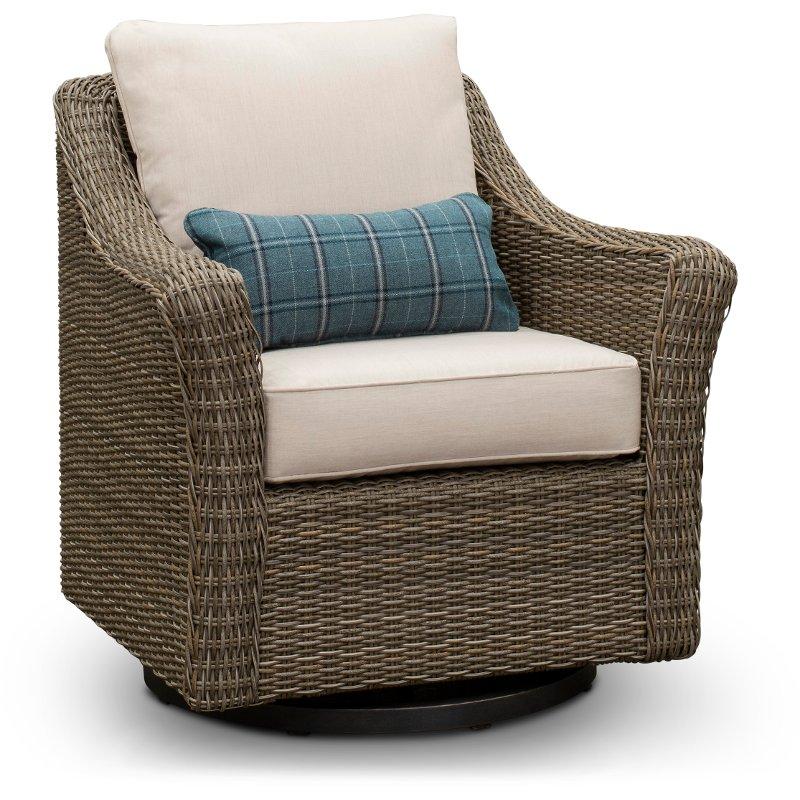 Woven Wicker Swivel Patio Chair Oak