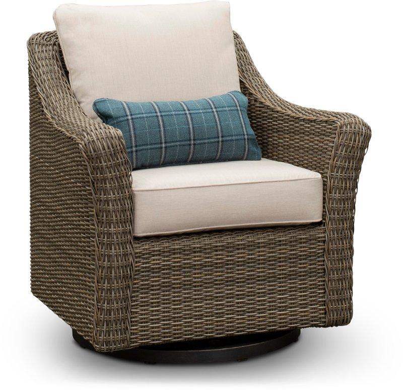 Stupendous Woven Wicker Swivel Patio Chair Oak Grove Ncnpc Chair Design For Home Ncnpcorg