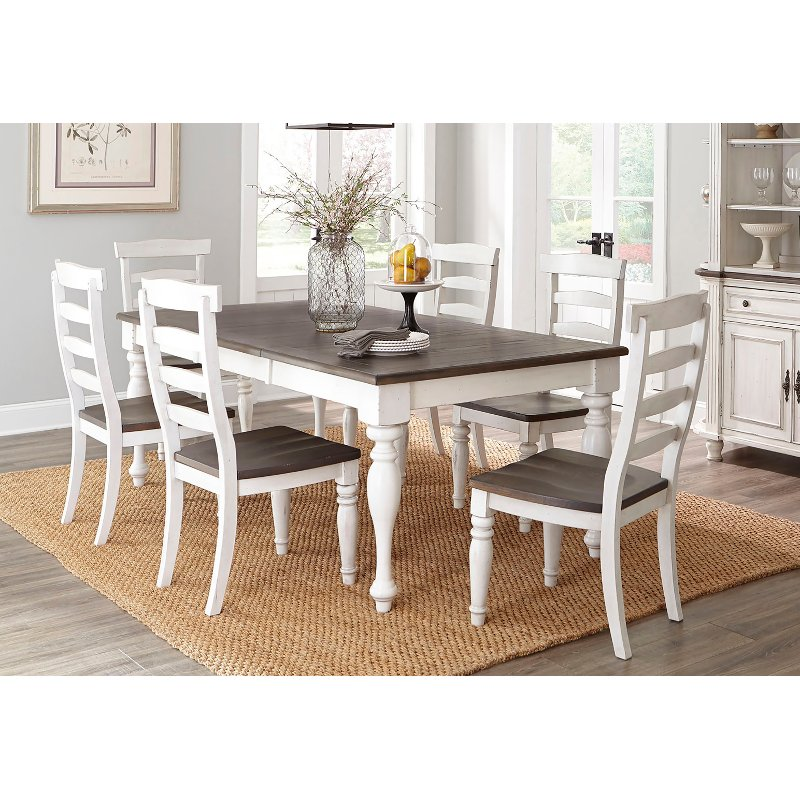 French Country White Two Tone 5 Piece Dining Set Bourbon County