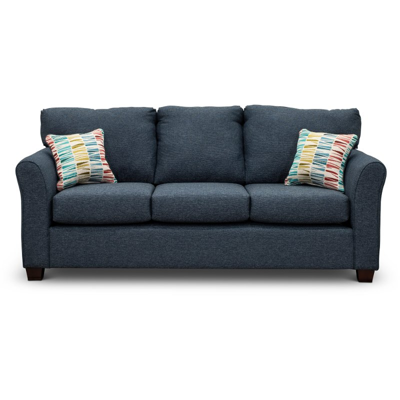 Casual Contemporary Navy Blue Sofa   Wall St.