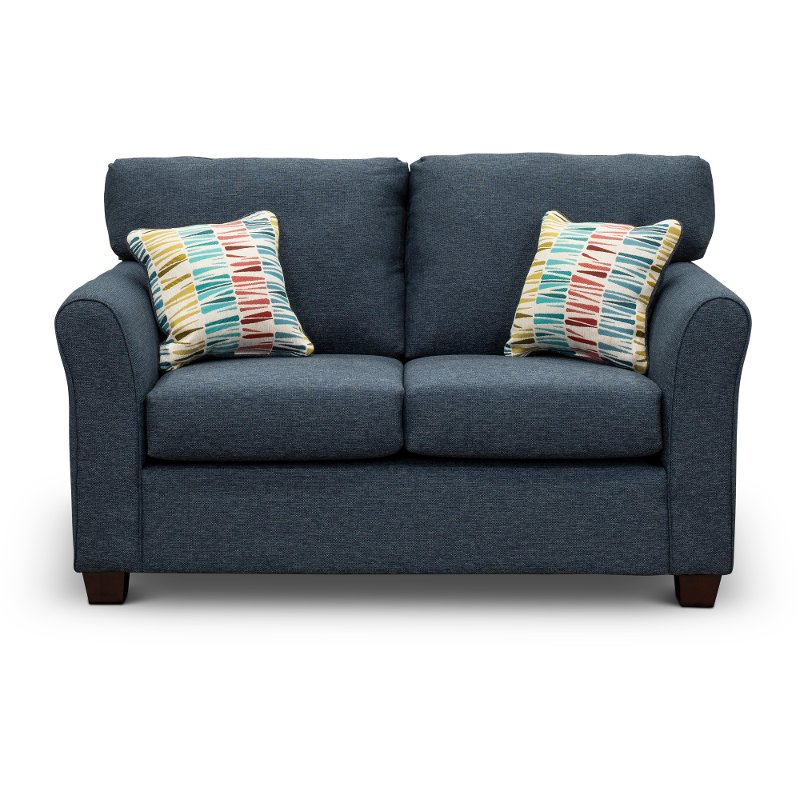 Wondrous Casual Contemporary Navy Blue Loveseat Wall St Onthecornerstone Fun Painted Chair Ideas Images Onthecornerstoneorg