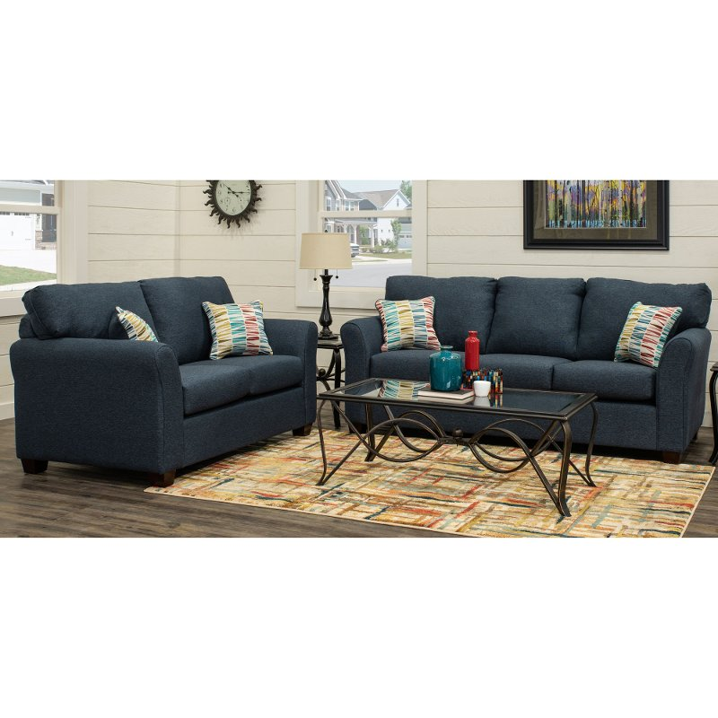 Contemporary Navy Blue 2 Piece Living Room Set Wall St Rc