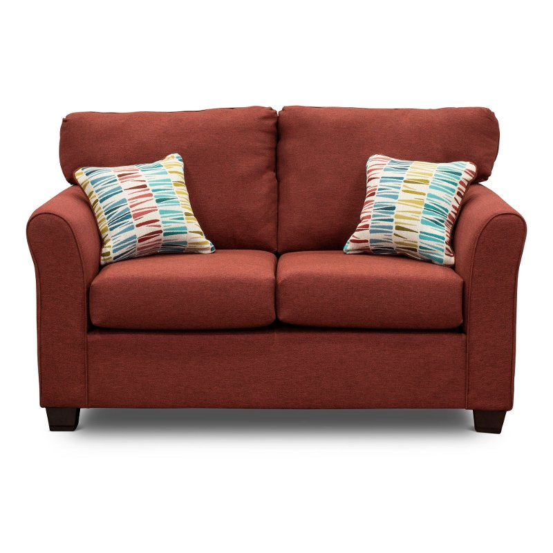 Casual Contemporary Ruby Red Loveseat - Wall St.