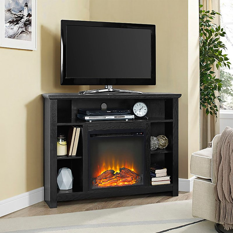 44 Inch Black Corner Highboy Fireplace Tv Stand Rc Willey