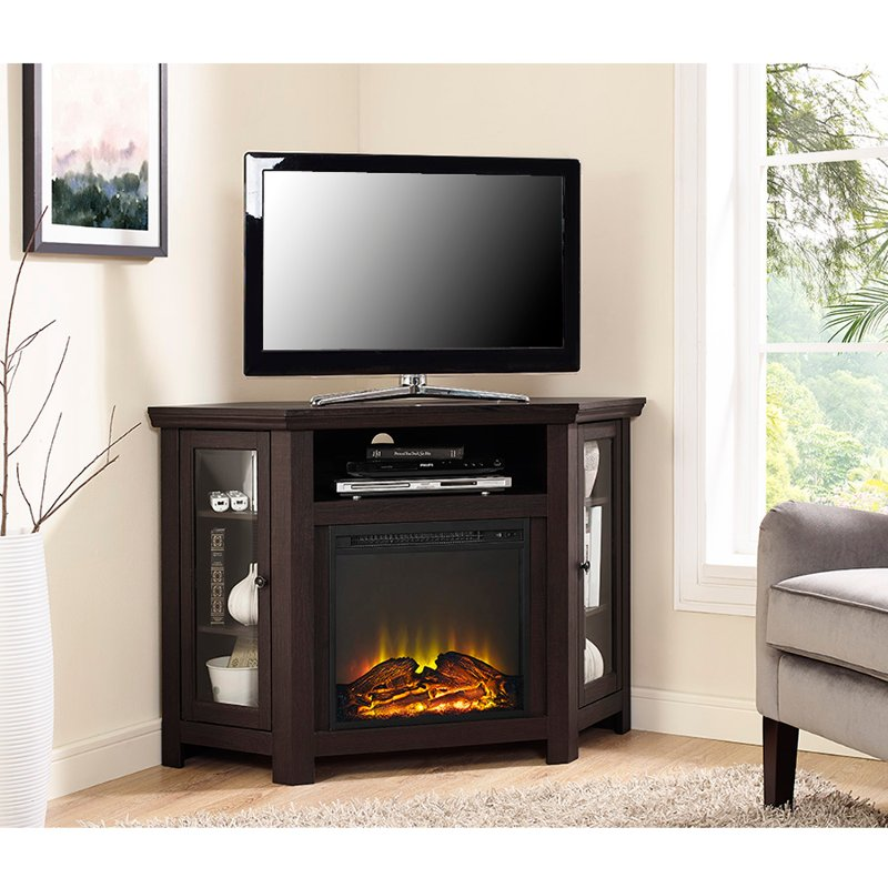 48 Inch Espresso Corner Fireplace Tv Stand Rc Willey Furniture Store