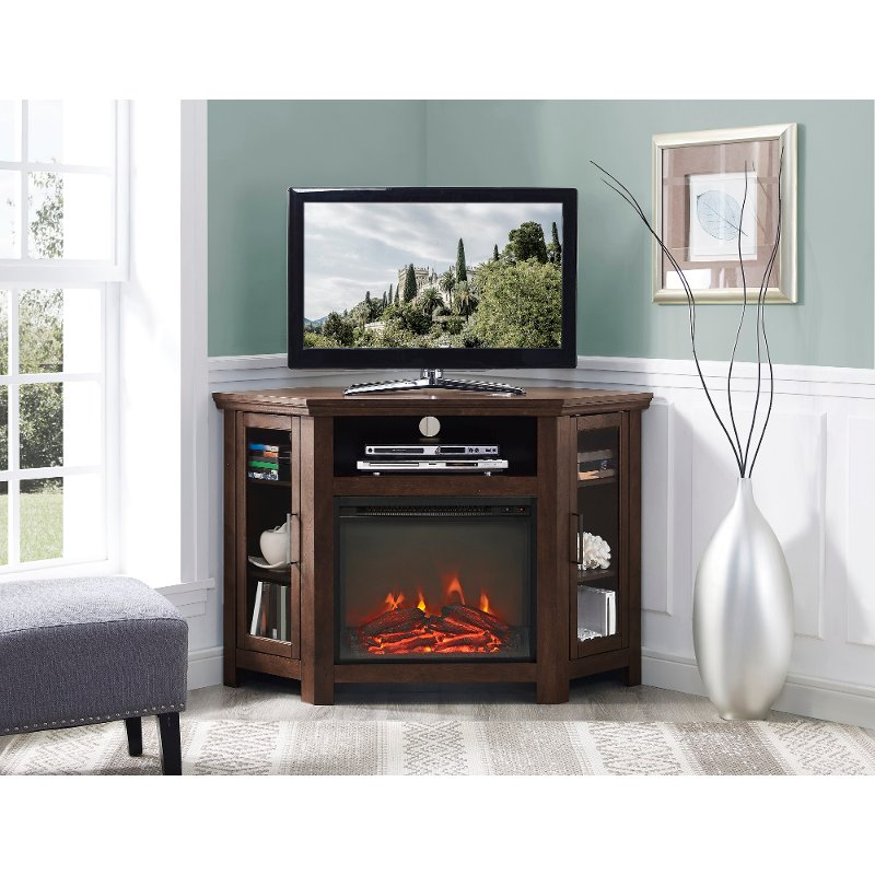 48 Inch Brown Corner Fireplace Tv Stand Rc Willey Furniture Store
