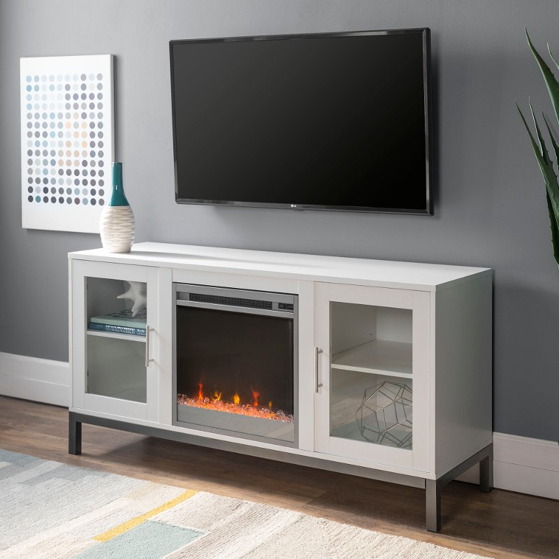 White 52 Inch Fireplace Tv Stand Rc Willey Furniture Store