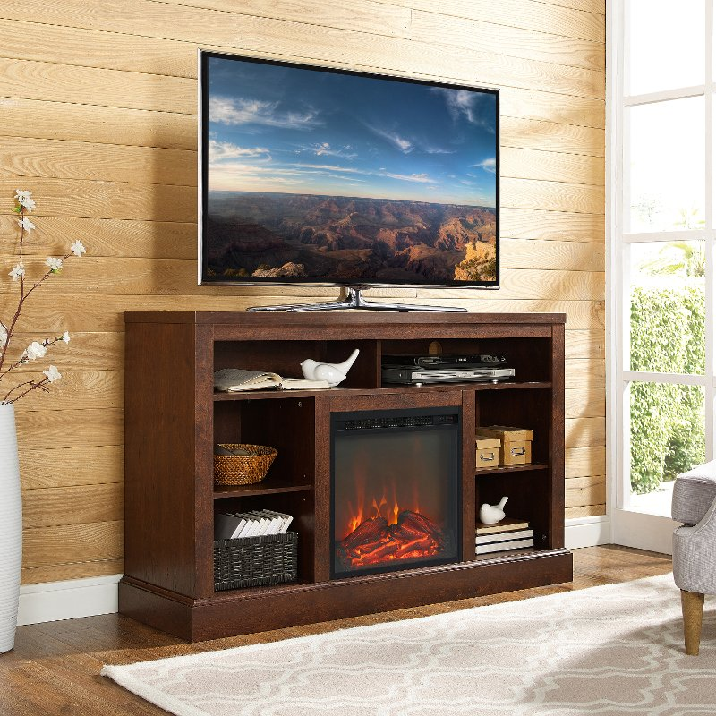 Rc Willey Tv Deals: Brown 52 Inch Fireplace TV Stand