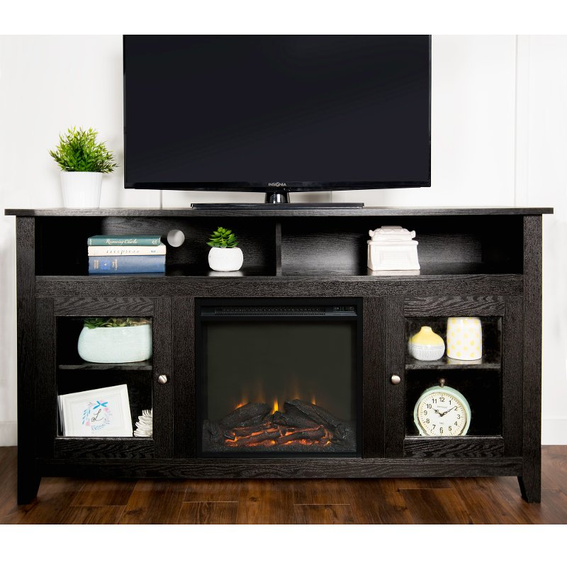 Black 58 Inch Highboy Fireplace Tv Stand Rc Willey Furniture Store