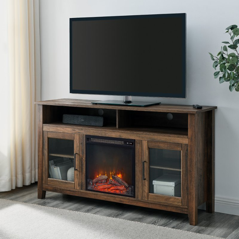 Rustic Oak 58 Inch Highboy Fireplace Tv Stand Rc Willey Furniture