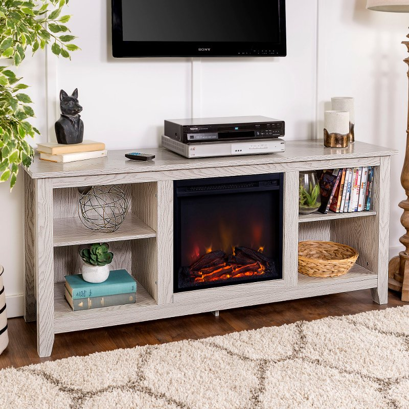 Farmhouse White 58 Inch Fireplace Tv Stand Rc Willey Furniture Store