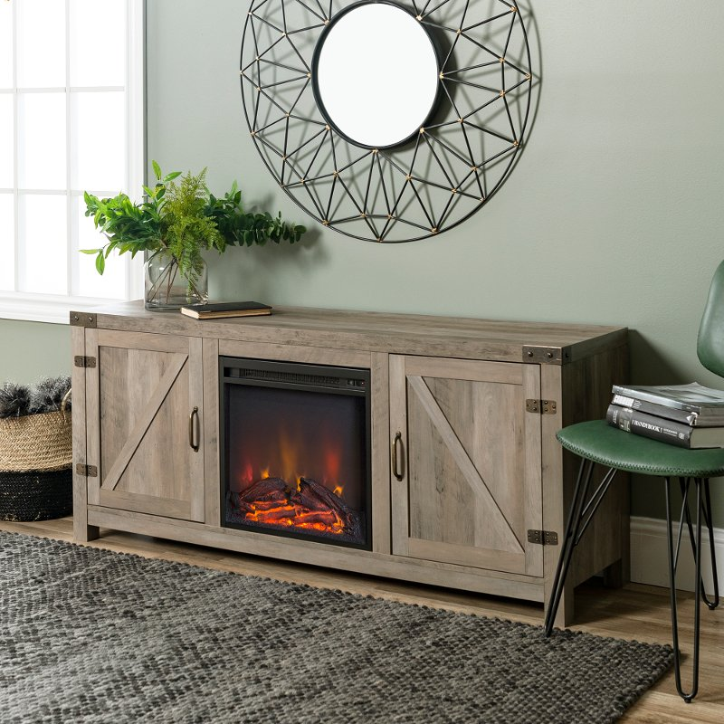 Gray Wash 58 Inch Farmhouse Fireplace Tv Stand Rc Willey Furniture
