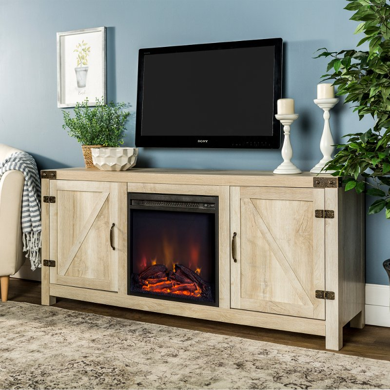 White Oak 58 Inch Farmhouse Fireplace Tv Stand Rc Willey Furniture