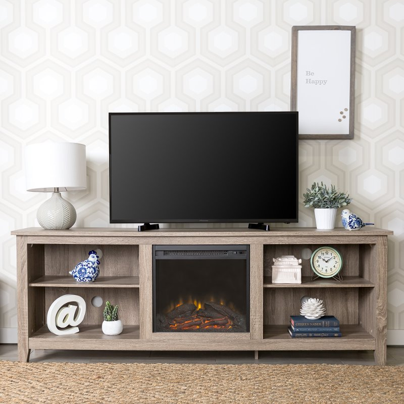 Gray 70 Inch Rustic Fireplace Tv Stand Rc Willey Furniture Store