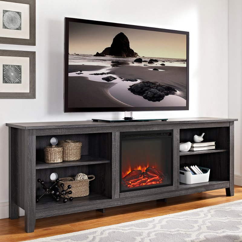 Stupendous Charcoal 70 Inch Rustic Fireplace Tv Stand Download Free Architecture Designs Estepponolmadebymaigaardcom