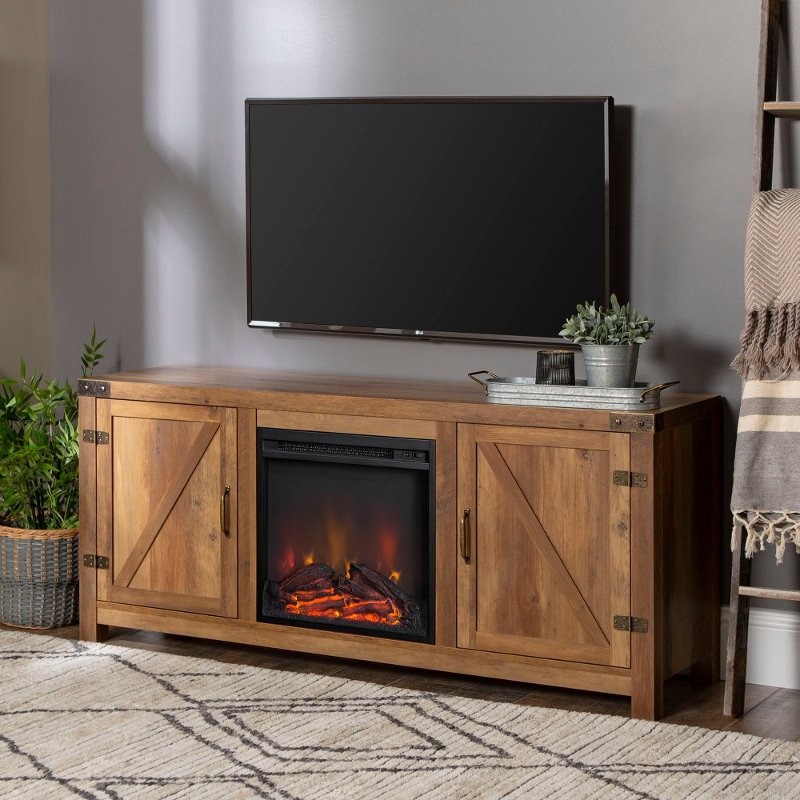 Rustic Oak 58 Inch Farmhouse Fireplace Tv Stand Rc