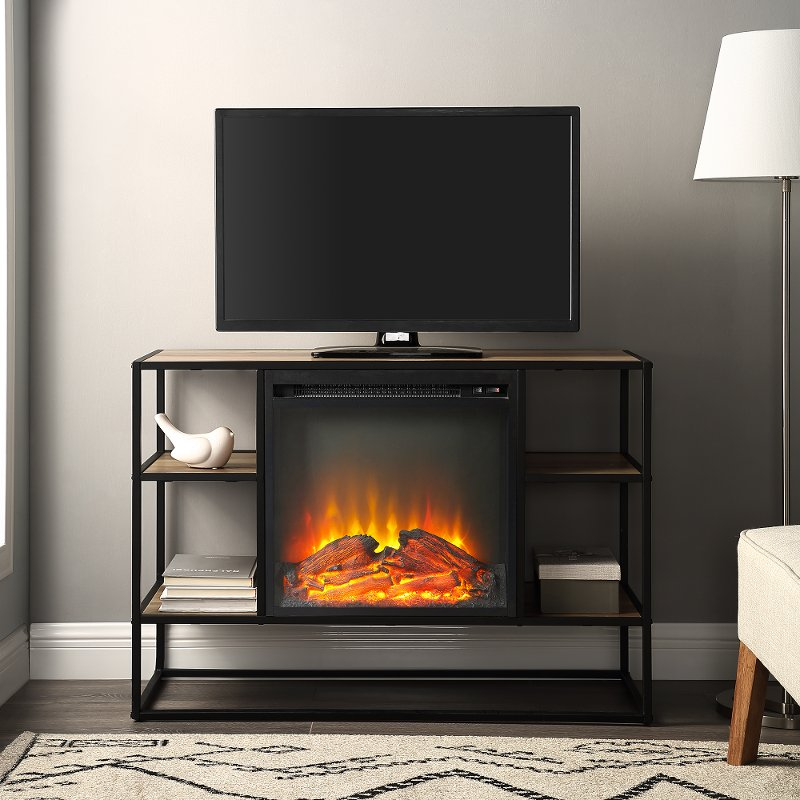 Industrial 40 Inch Metal And Rustic Oak Wood Fireplace Tv Stand Rc