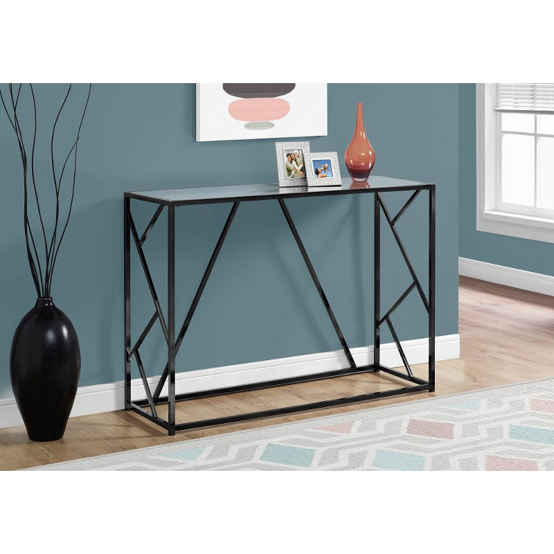 Mirror And Black Metal 42 Inch Modern Console Table Rc
