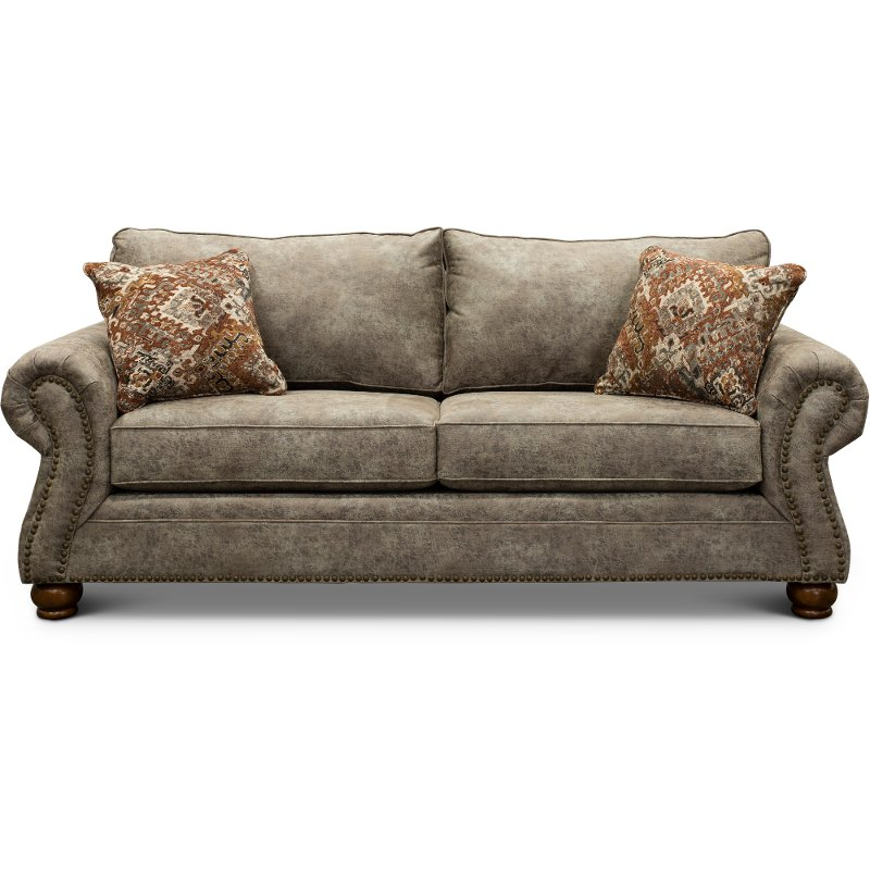 Casual Traditional Graphite Brown Sofa Tahoe Rc Willey Furniture