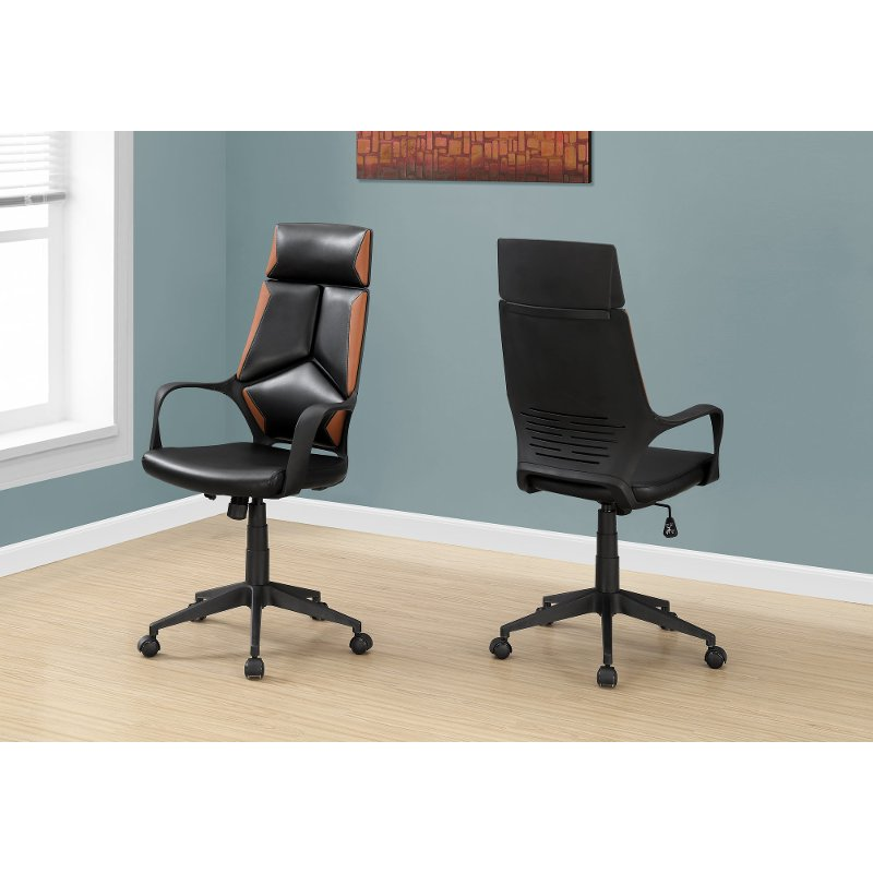Black And Brown Upholstered Computer Chair