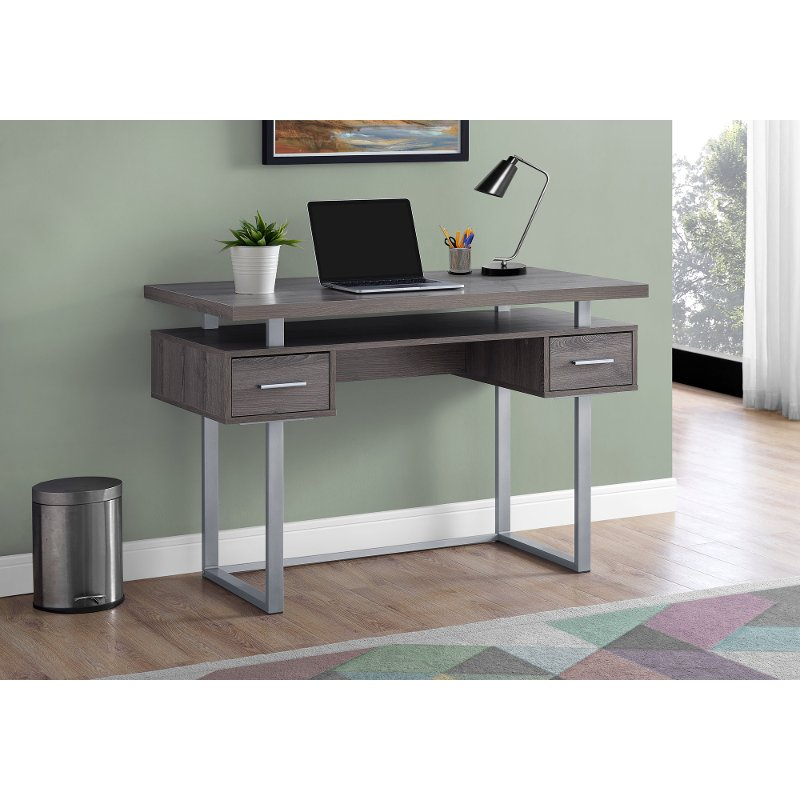 Taupe And Silver Small Office Desk Rc