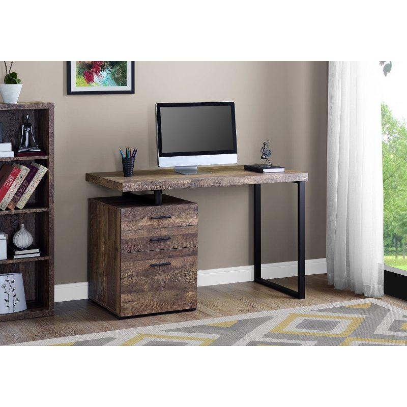 Brown And Black Metal Small Office Desk