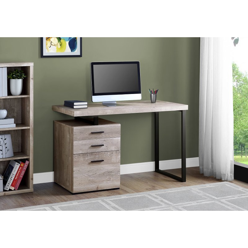 Surprising Taupe And Black Metal Small Office Desk Download Free Architecture Designs Embacsunscenecom