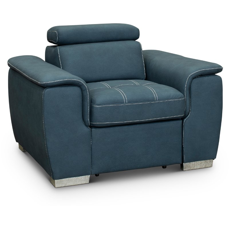 on sale c9abe 54977 Casual Contemporary Blue Chair with Pullout Ottoman - Ferriday