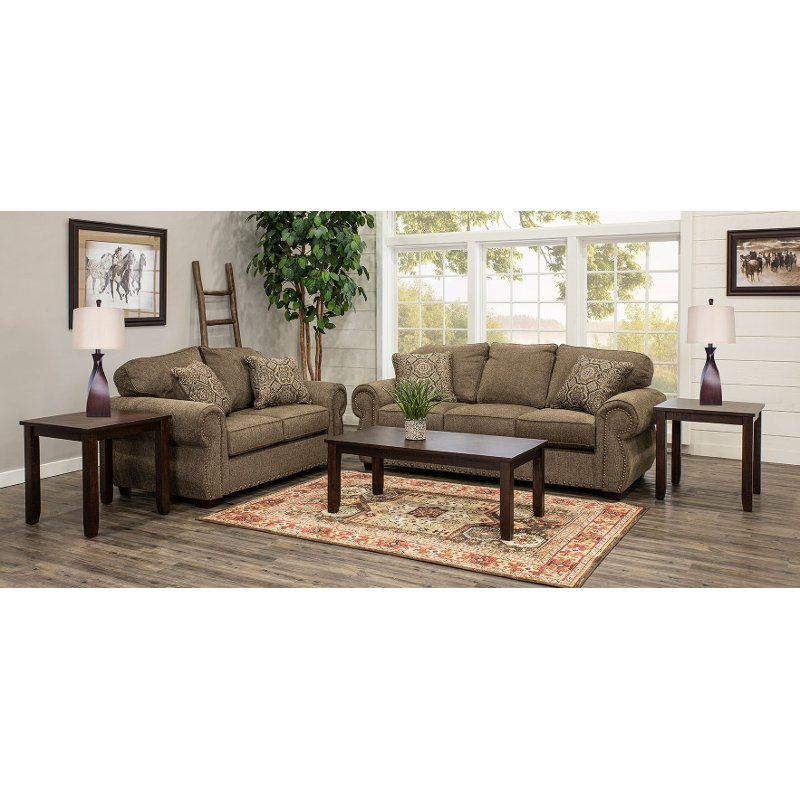 Casual Traditional Coffee Brown 7 Piece Living Room Set Southport