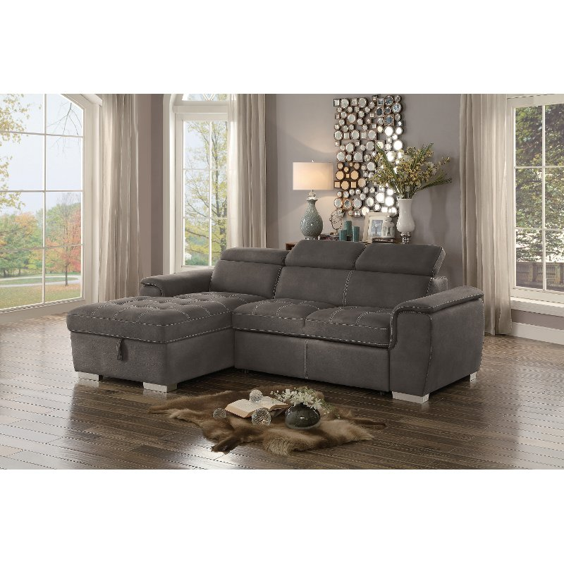 Taupe Sectional Sofa with Pullout Sofa Bed and Left-Side Storage ...