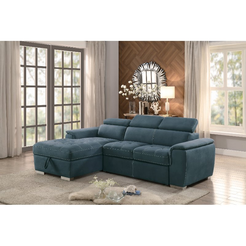 Blue Sectional Sofa with Pullout Sofa Bed and Left-Side Storage ...