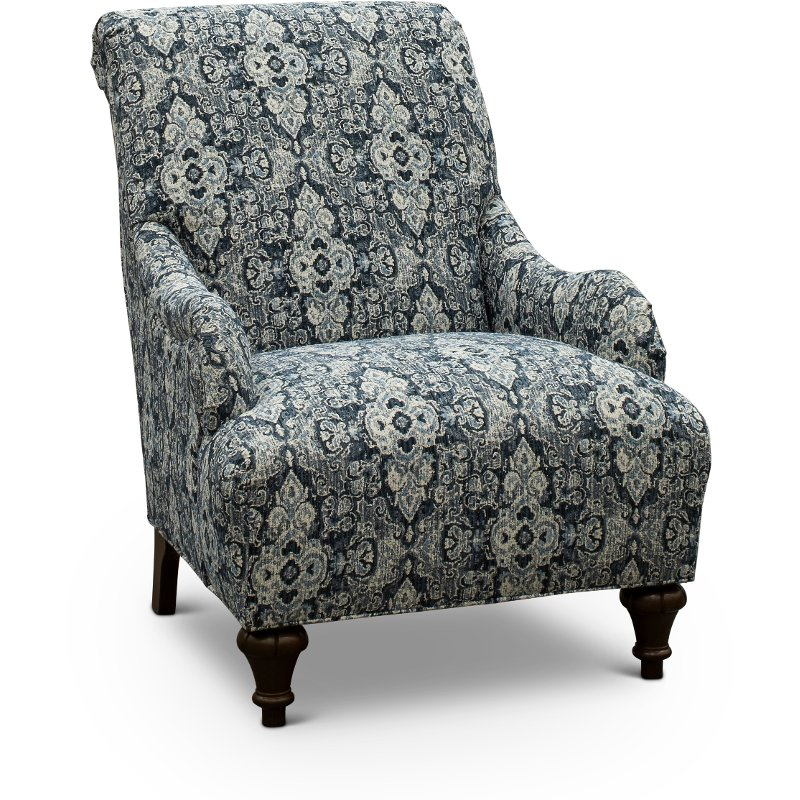 Astounding Traditional Indigo Blue Floral Accent Chair Kelsey Ibusinesslaw Wood Chair Design Ideas Ibusinesslaworg
