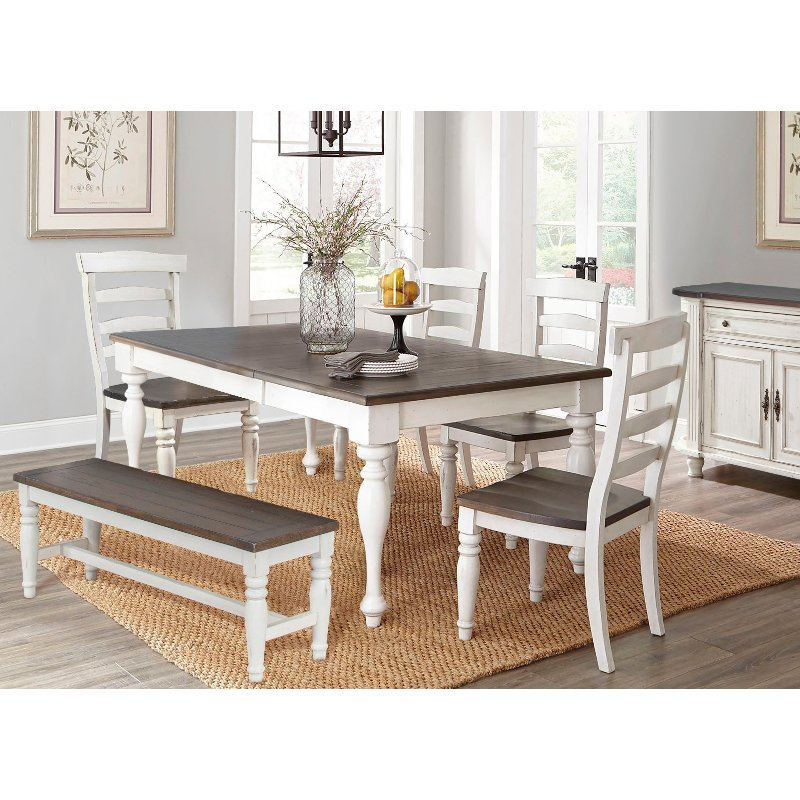 French Country White Two Tone 6 Piece Dining Set Bourbon County Rc Willey Furniture
