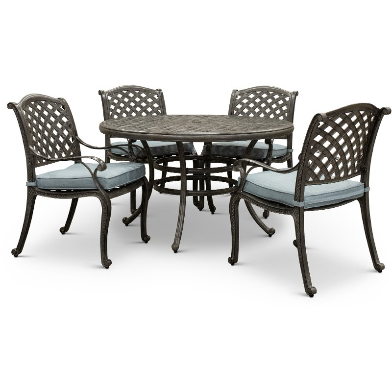 Metal 5 Piece Round Patio Dining Set