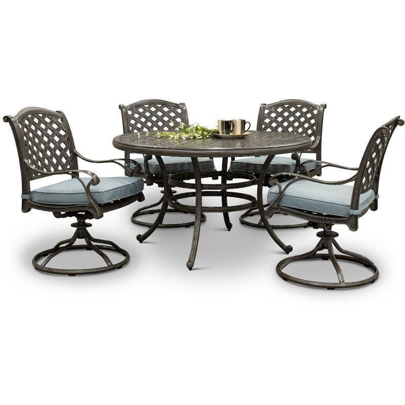 Outdoor Dining Set Round Table.Cast Metal Round 5 Piece Patio Dining Set Macan Rc Willey