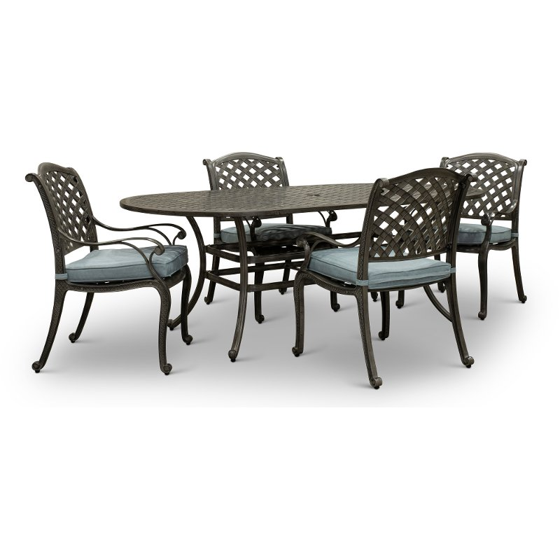 Piece Oval Patio Dining Set Macan, Cast Iron Outdoor Furniture