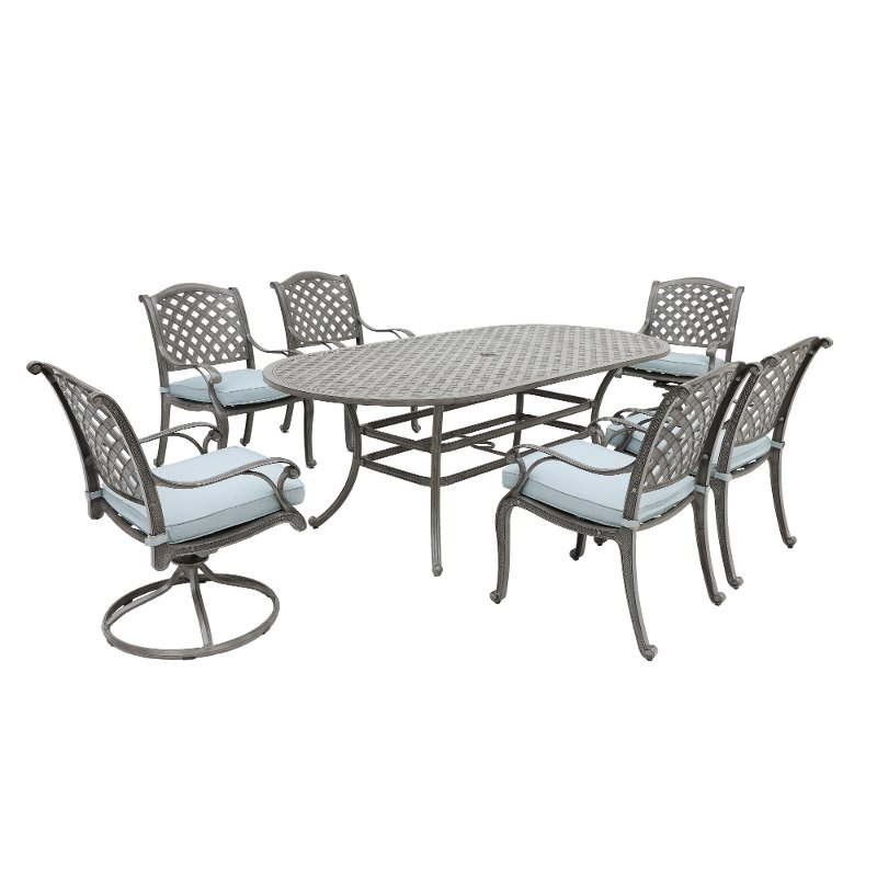 Wondrous Gray Metal 7 Piece Outdoor Patio Dining Set Macan Gmtry Best Dining Table And Chair Ideas Images Gmtryco