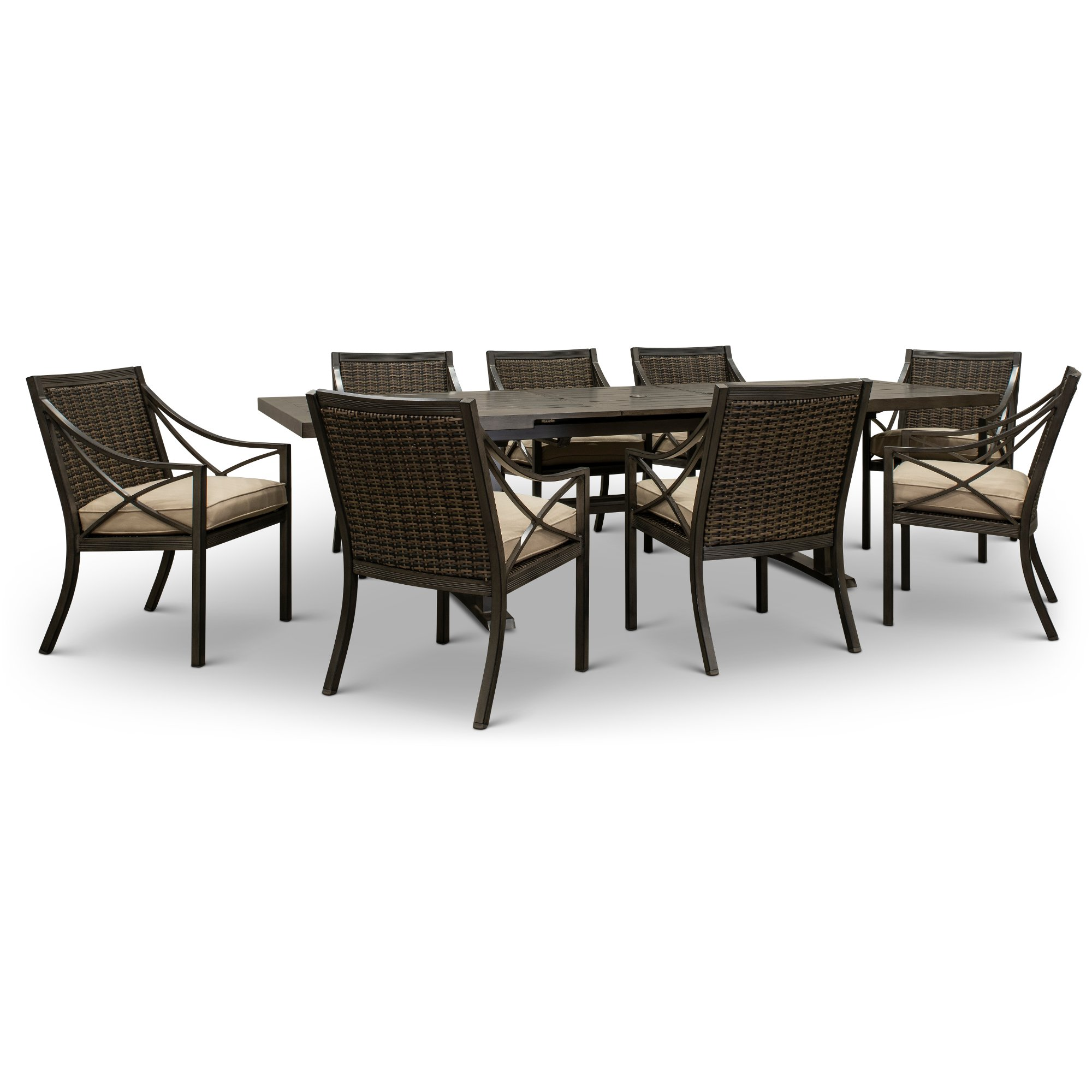 9 Piece Patio Dining Set With 8 Armchairs Davenport Rc Willey Furniture