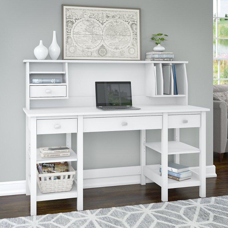 White 60 Inch Desk With Hutch Organizer Broadview