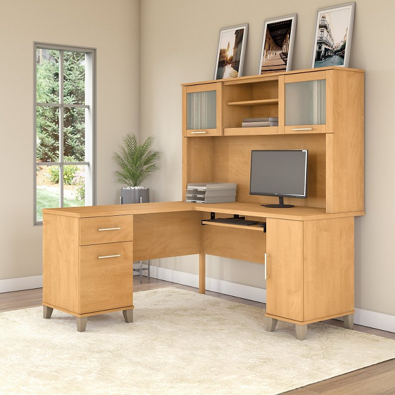 Maple L Shaped Computer Desk with Hutch - Somerset | RC Willey