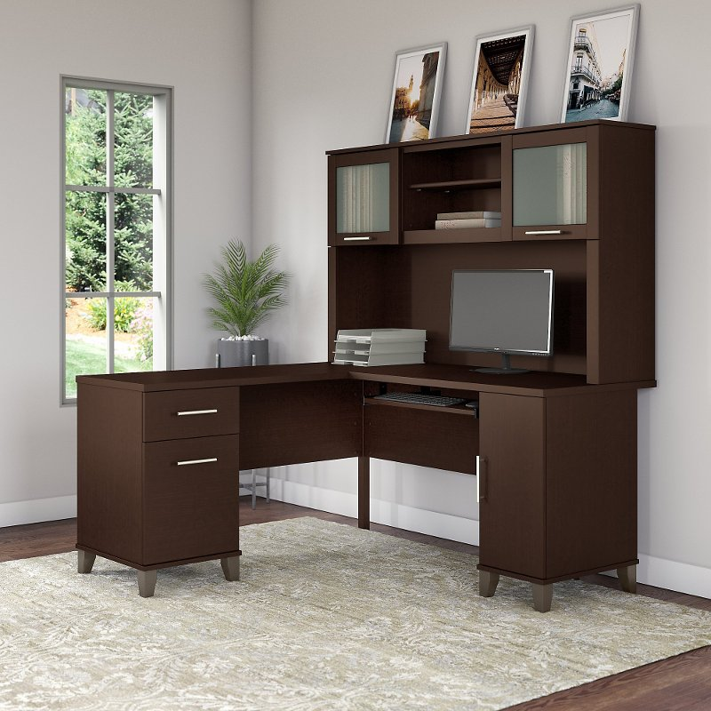 new style bfa75 bdbd8 Mocha L Shaped Computer Desk with Hutch - Somerset