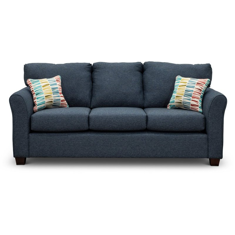 Casual Contemporary Navy Blue Sofa Bed Wall St