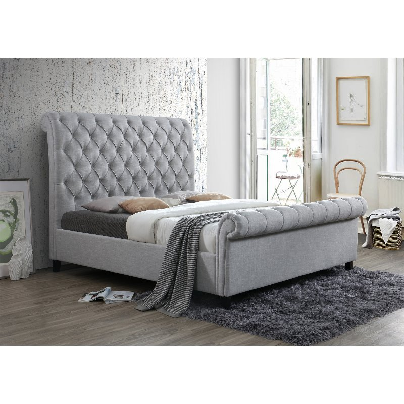 Traditional Gray Queen Upholstered Bed Kate Rc Willey Furniture Store