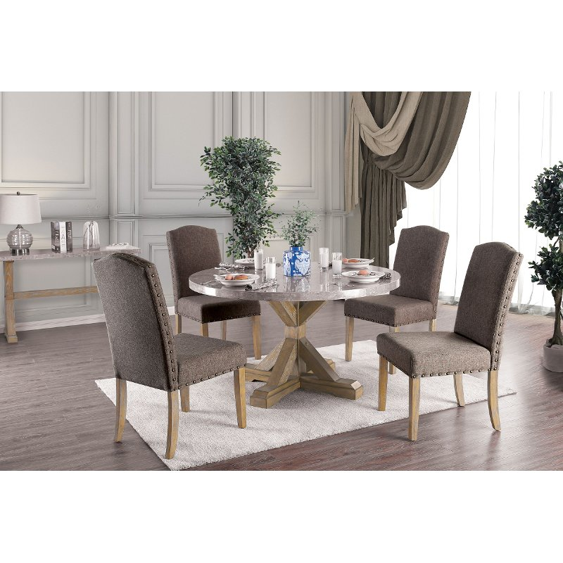 Rustic Marble And Wood X Base Round 5 Piece Dining Set Bridgend