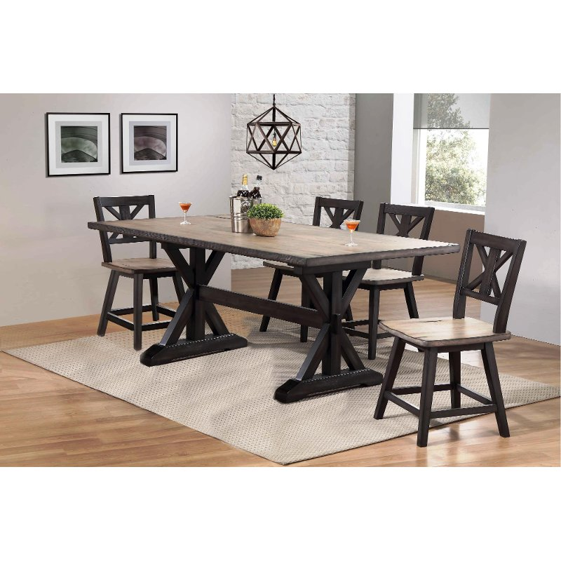 Farmhouse Sand And Black 5 Piece Dining Set Orlando Rc Willey Furniture Store