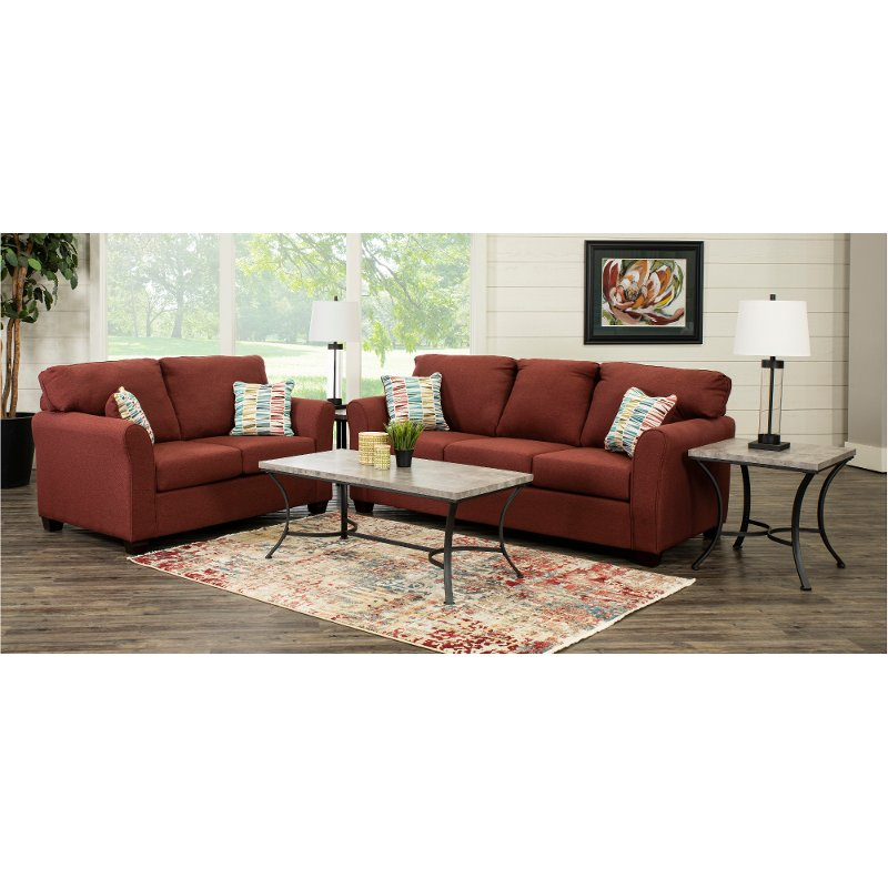 Contemporary Ruby Red 7 Piece Living Room Set - Wall St.