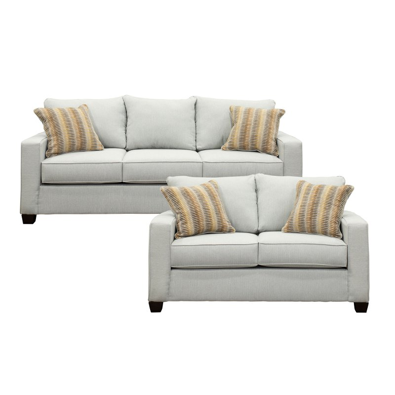 Sky Gray 2 Piece Living Room Set With Sofa Bed Gavin
