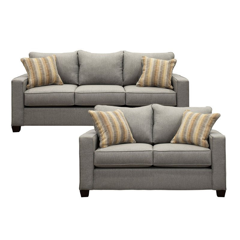 Stone Gray 2 Piece Living Room Set With Sofa Bed Gavin