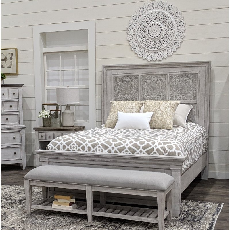Classic Country Antique White King Size Bed - Heartland
